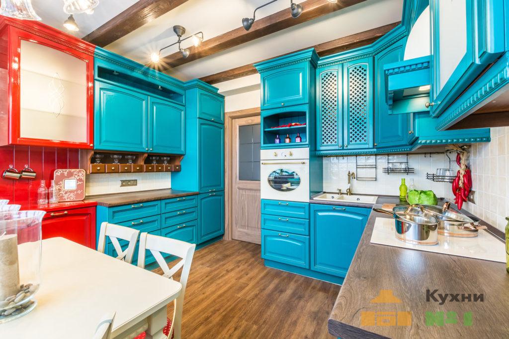 бирюзовые кухни фото