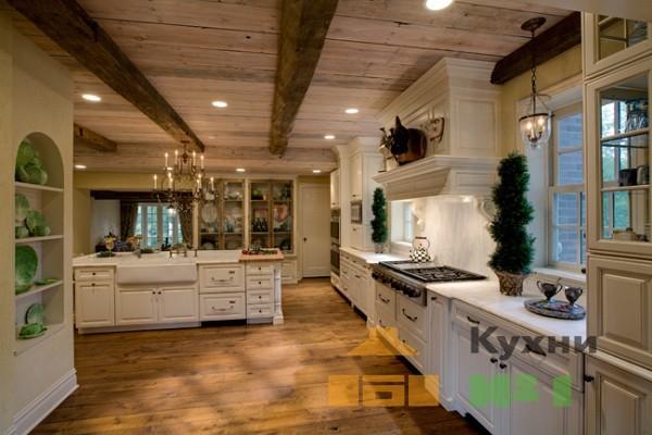 большие кухни: угловые и прямые фото