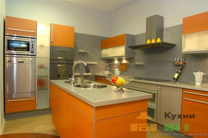 оранжевые кухни фото
