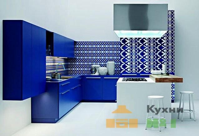 синие кухни фото